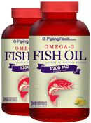 Aceite de pescado omega-3 1200 mg, sabor limón 1200 mg 2 Bottles x 240 Softgels 			  945 | Fish Oils	 	 | Piping Rock Health Products