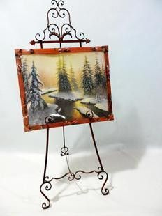 Beautiful Continental Wrought Iron Frame Easel Stand