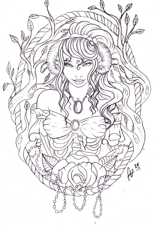 Zombie Ram Woman by NevermoreInkdeviantart