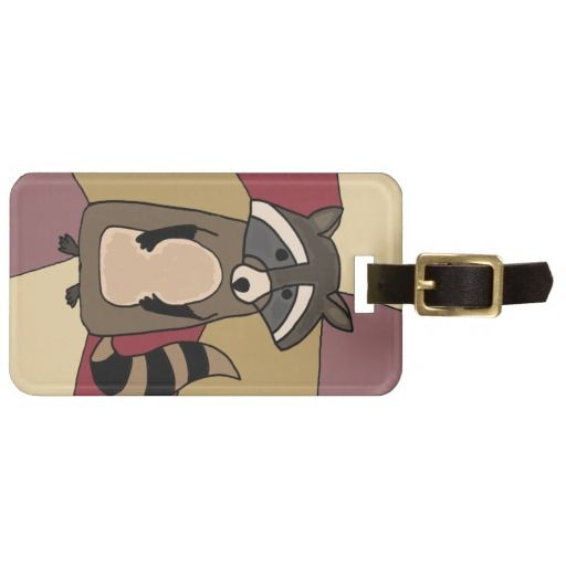 Funny Raccoon Original Art Design Travel Bag Tag #raccoon #art #luggagetag #travel And www.zazzle.com/inspirationrocks*