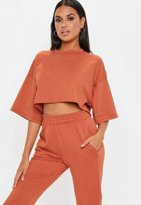 dda2da6cd5159 Missguided Rust Oversized Crop T Shirt