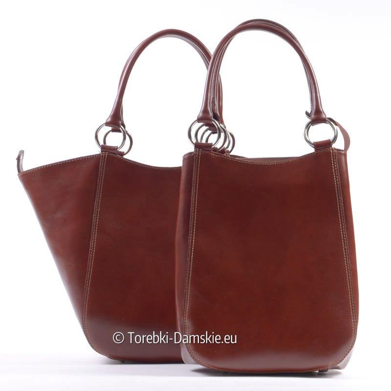d68ed5f3cbe4a Brązowa torba włoska 2 w 1 - możliwość modyfikowania kształtu i pojemności.  Piękny odcień koloru