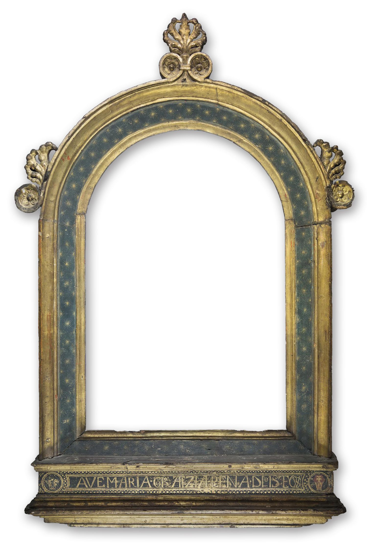 of italian renaissance parcel gilt and painted tabernacle an early italian renaissance frame made in siena incorporated sgraffito stars in the frame panel