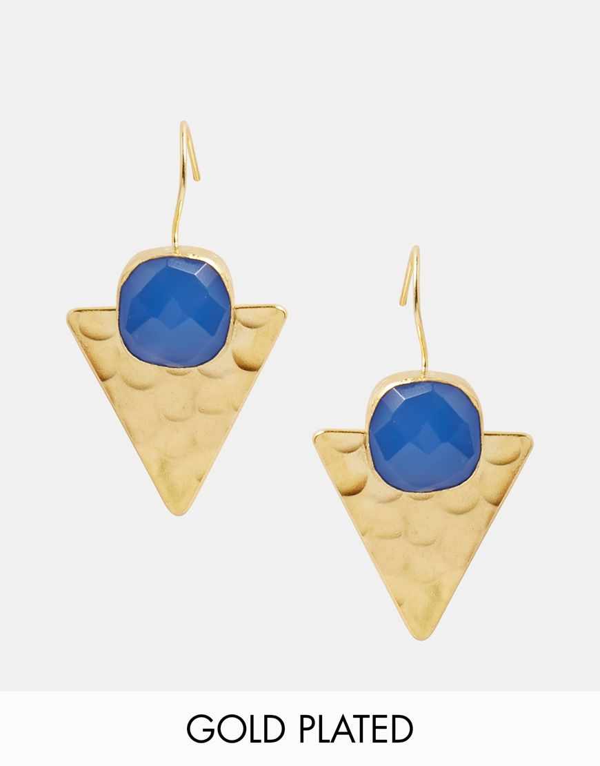Image 1 of Ottoman Hands Bauhaus Triangle Drop Earrings ...