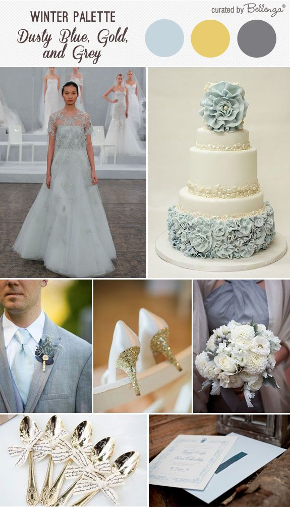 Dusty Blue, Gold, and Grey: A Vintage Winter Wedding Palette ...