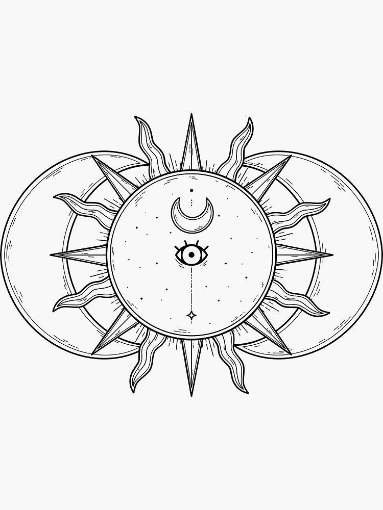 'Celestial Sun and Moon and Stars' Sticker by katieharperart