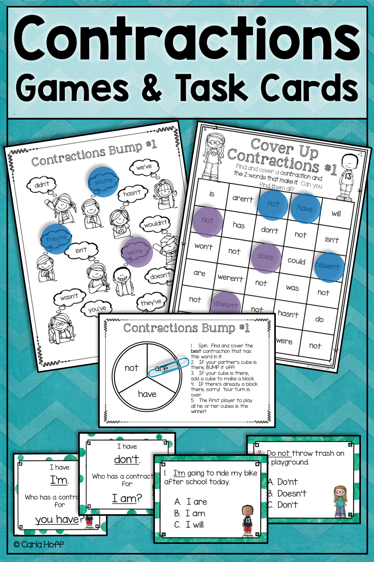 Contractions Task Cards And Games