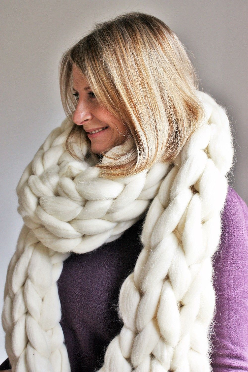 Photo of Chunky Knit Scarf Super Chunky Scarf Oversize Custom Knit wool Scarf Merino Arm Knit Scarf Super Chunky Long Bulky Scarf Statement Scarf