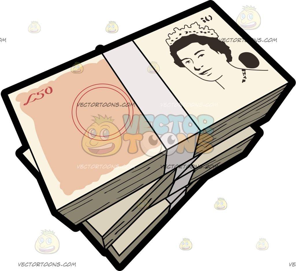 Stacks Of Fifty Pounds Bank Notes Bank Notes Fifties Money Clipart