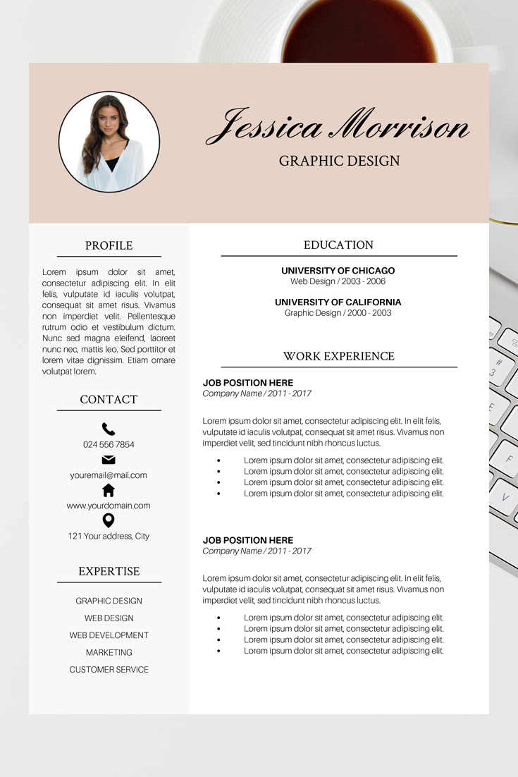 Photo Resume Template Resume Instant Download Cv Template Etsy Cv Template Word Teacher Resume Template Resume Outline