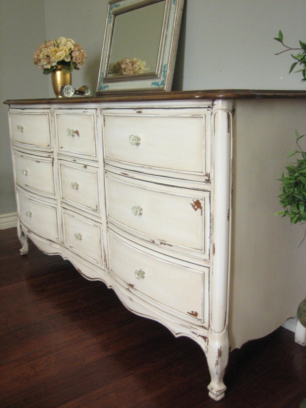 SOLD ï ¿Solid wood dresser in an antiqued creamy white with a