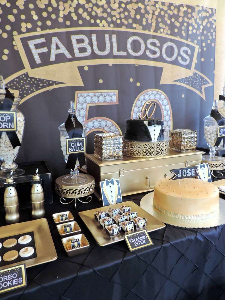 Black and gold tuxedo birthday party ideas gold 50th for Gold party