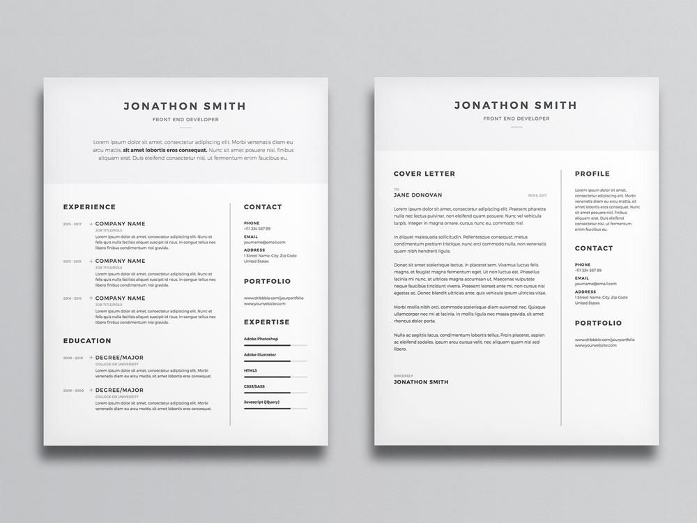 Free clean and minimal resume cv template with cover
