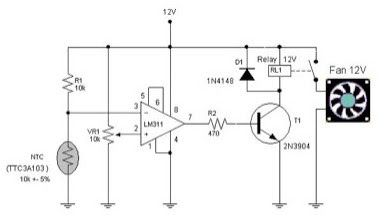 electronic circuit schematic automatic fun controller using ntc