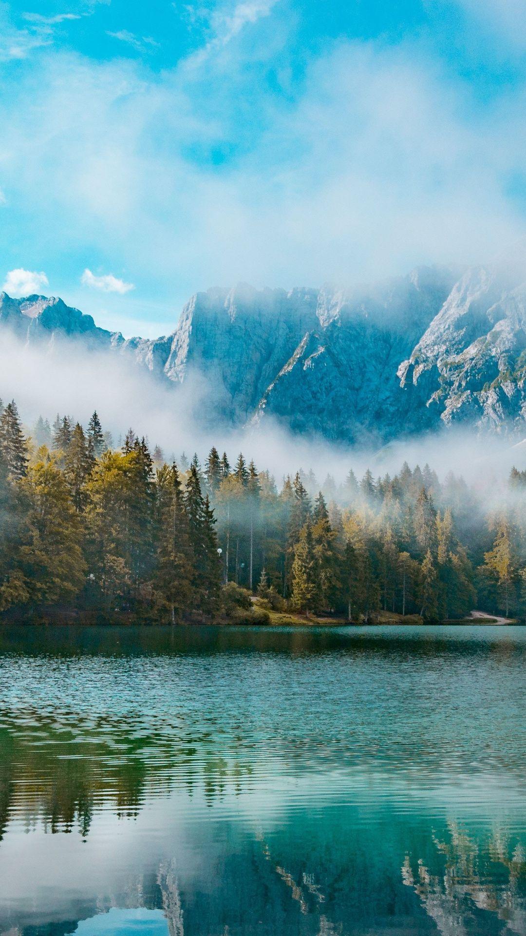 Nature Lake Mountains Laghi Di Fusine Italy 1080x1920