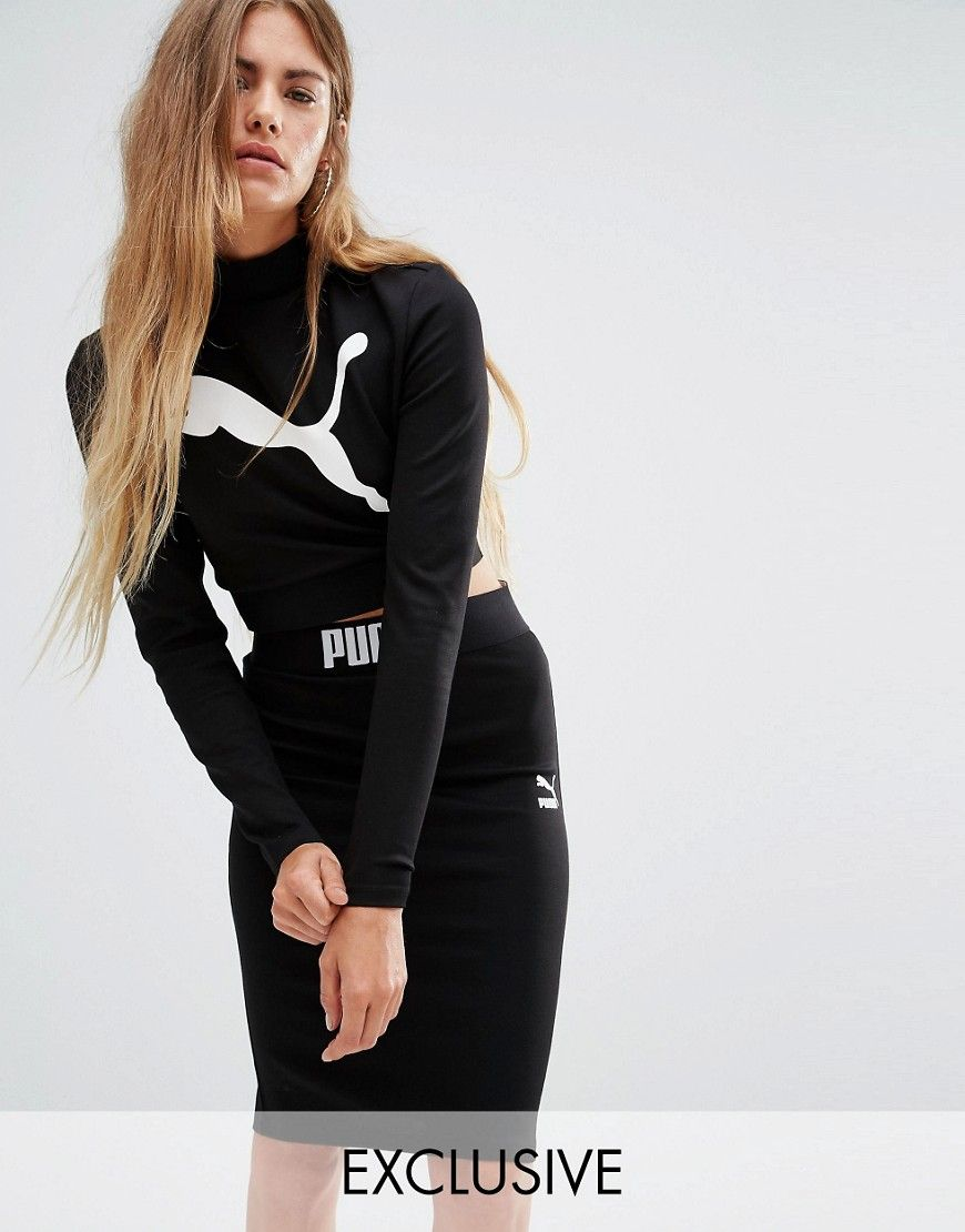 Image 1 of Puma Exclusive to ASOS Long Sleeve Crop Top Co Ord 6d9b2116ace