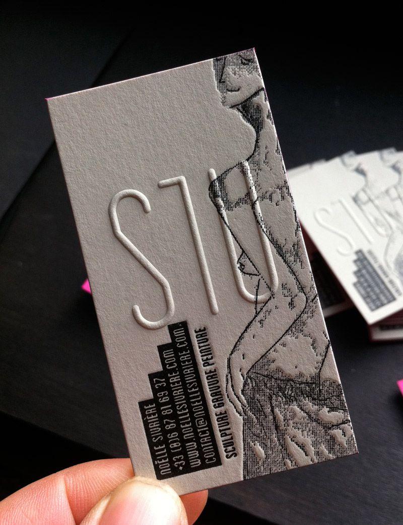 Impression Letterpress Carte De Visite 85 X 55 Cm Et Debossage 2 Couleurs Gaufrage R V Tranches Couleur Sur Papier Duplex 2x300g