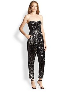 9b21c1079440 MILLY - Leather-Trim Sequined Bustier Jumpsuit