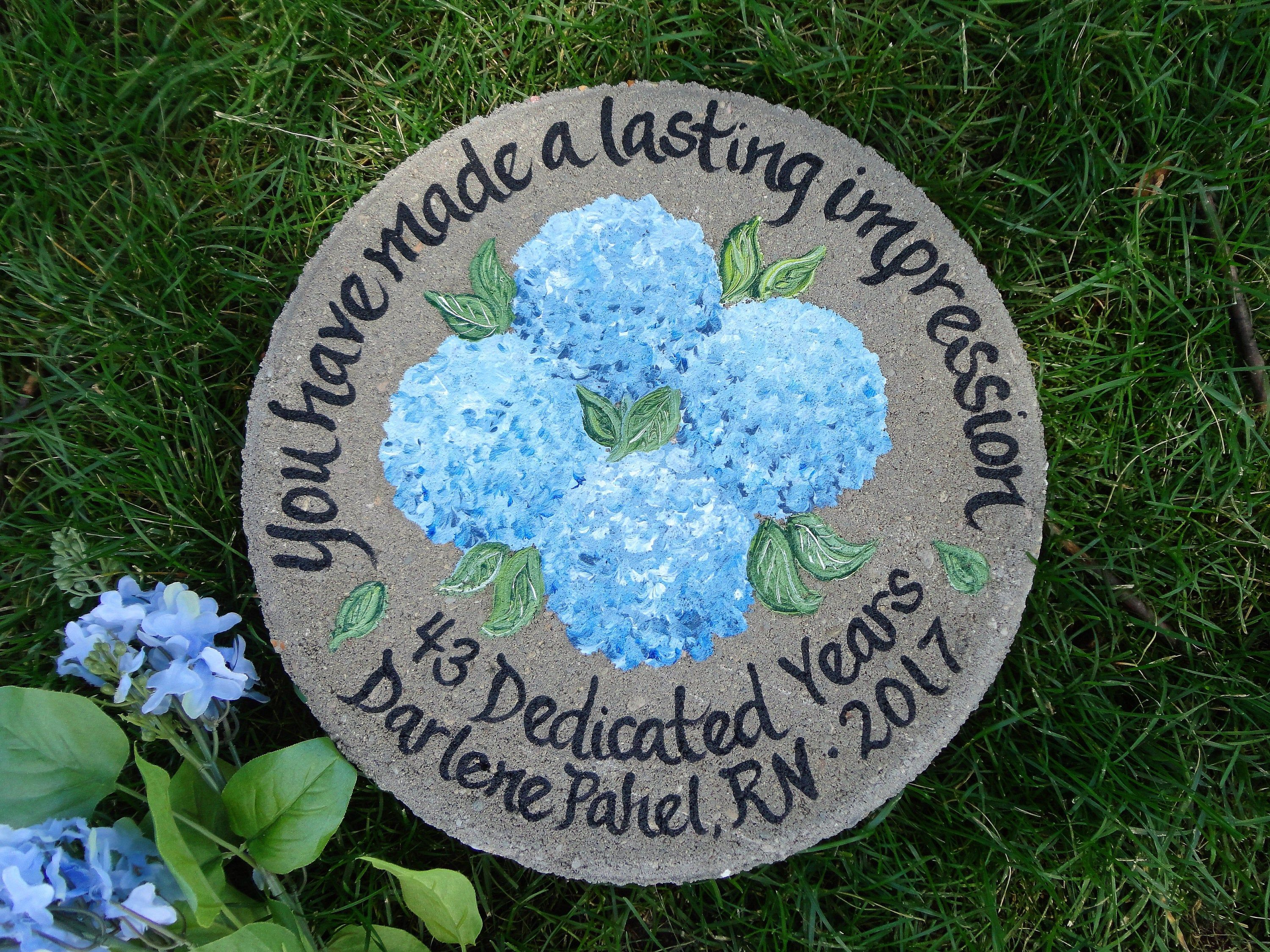 RETIREMENT GIFT, Hand Painted Stepping Stone, Retirement Gifts, Blue Hydrangeas, Gift from Students, Gift for Teacher, Employee Gift Ideas