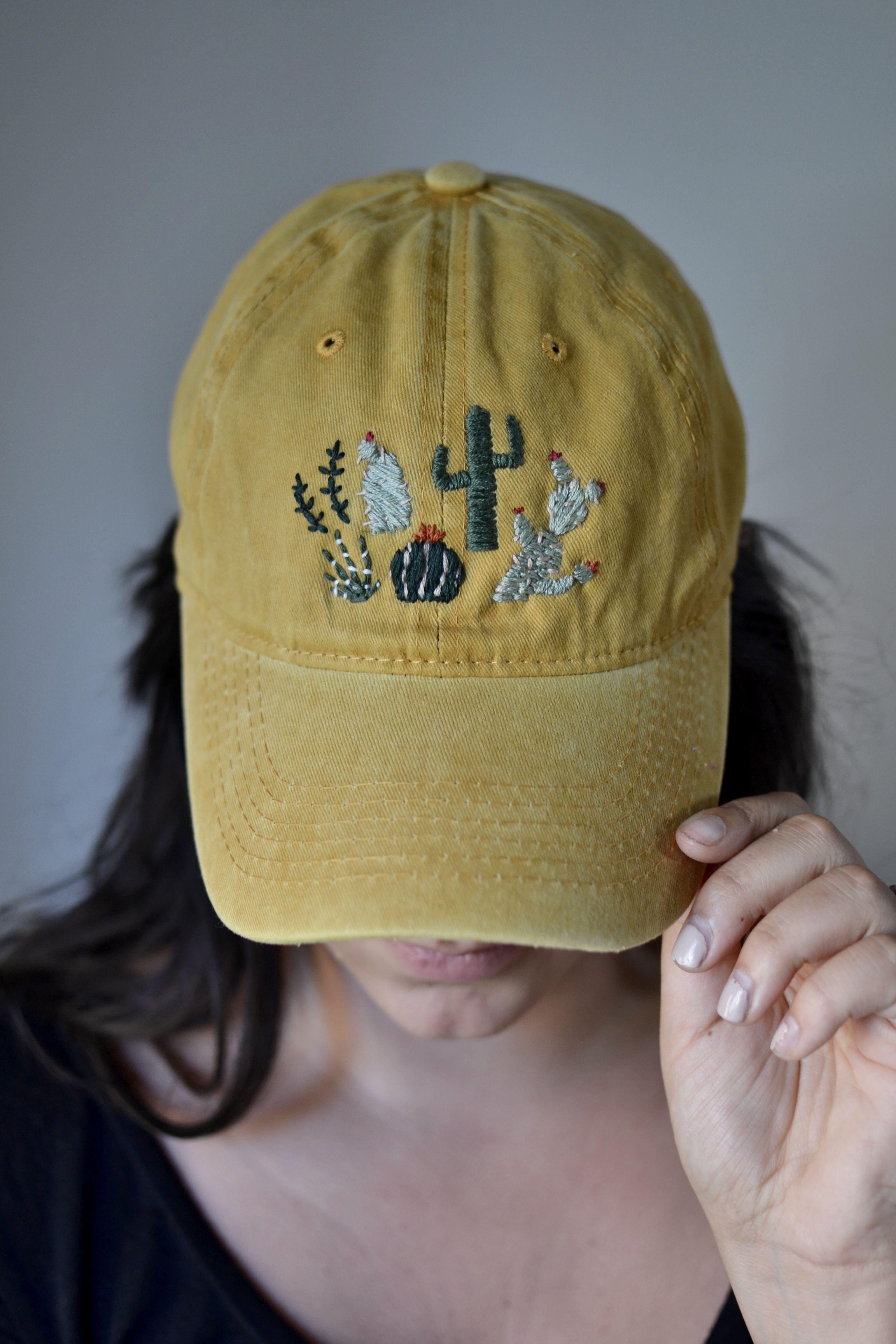 Handmade Embroidered Cactus Mustard Hat Hat Embroidery Embroidered Hats Painted Hats
