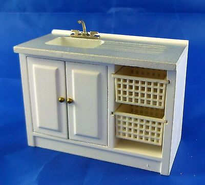Dollhouse Miniature Laundry Sink and Organizer with Baskets in White ~ M1839