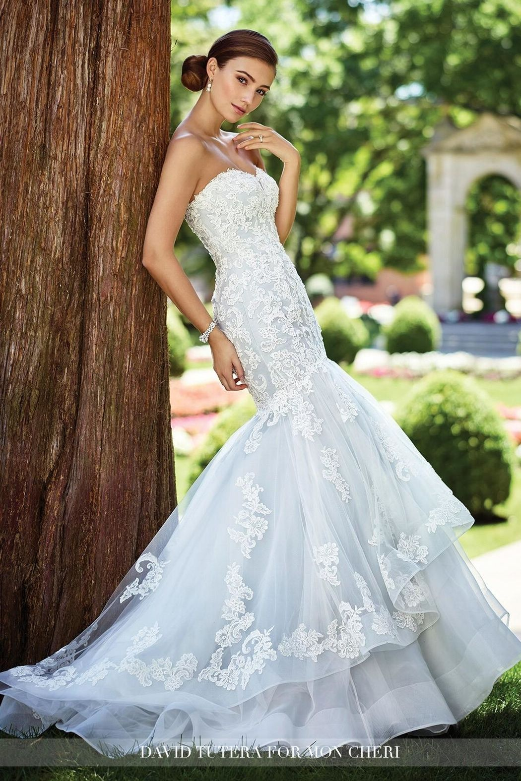 David tutera for mon cheri lace mermaid gown ivory pinterest