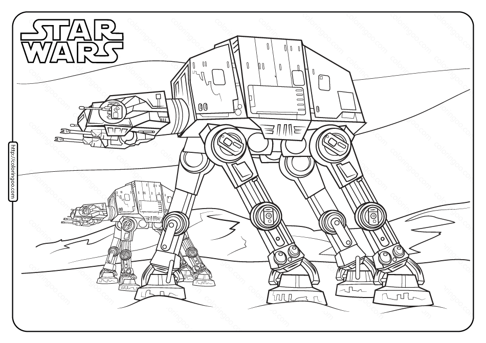 Printable Star Wars At At Coloring Pages Star Wars Coloring Book Star Wars Coloring Sheet Star Wars Colors