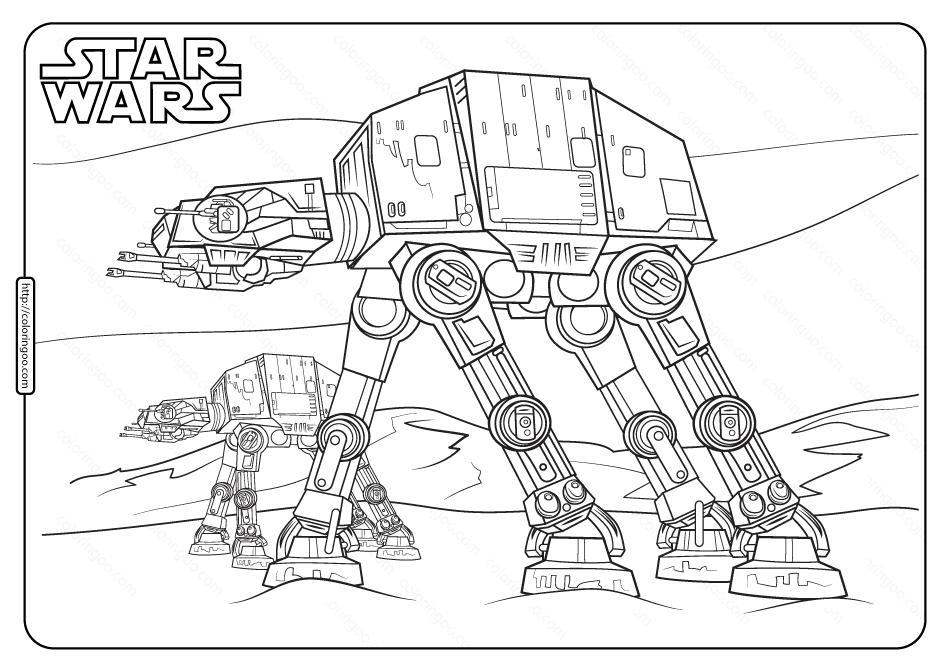 Printable Star Wars At At Coloring Pages In 2020 Printable Star Coloring Pages Star Wars Crafts