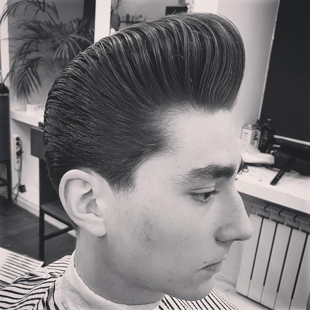 Zero Pomade Onlyclassicnoshit Oldschoolbarber Pompoholics Haircut Rockabilly Reuzel Reuzeltonic Che Slick Hairstyles Pompadour Haircut Slicked Back Hair