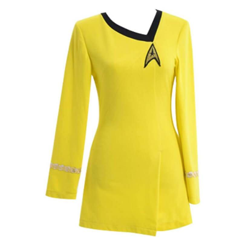 Star Trek The Female Duty Yellow Uniform Dress Cosplay Costume Gown Outfit