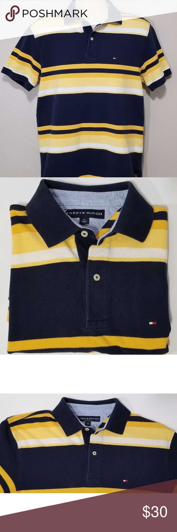 69a03e57 Men's Tommy Hilfiger Striped Polo Shirt Pre-owned Mens Tommy Hilfiger  Striped Polo Shirt • Blue, Yellow, and White • Medium • Chest= 21