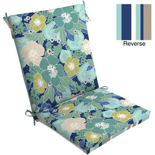 Mainstays Outdoor Chair Cushion, Blue Floral - Mainstays Outdoor Chair Cushion, Blue Floral Chairs, Cushions