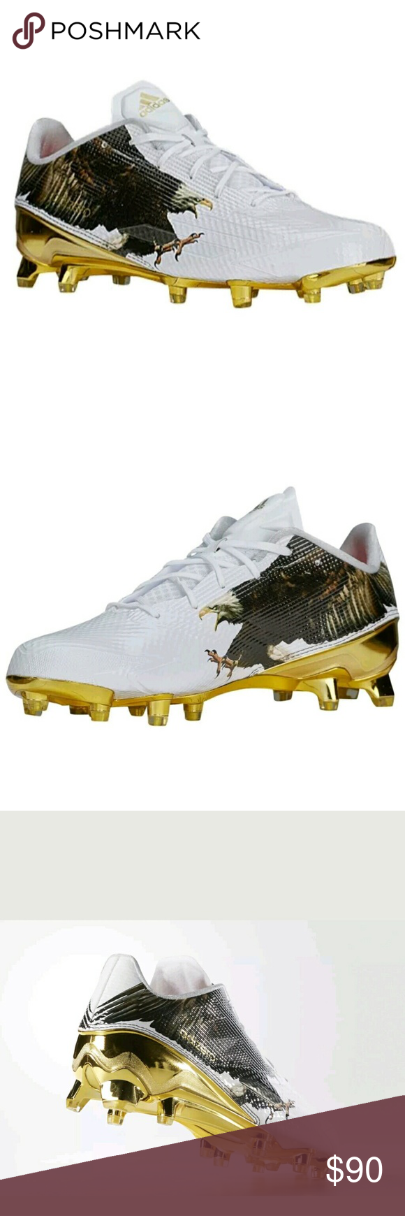 size 40 7e280 1812f Adidas Adizero Uncaged Eagle Football Cleats Sz 10 Adidas Adizero Uncaged  Eagle Football Cleats Size 10 White Gold 5-Star 5.0 NEW Condition  Brand  New ...