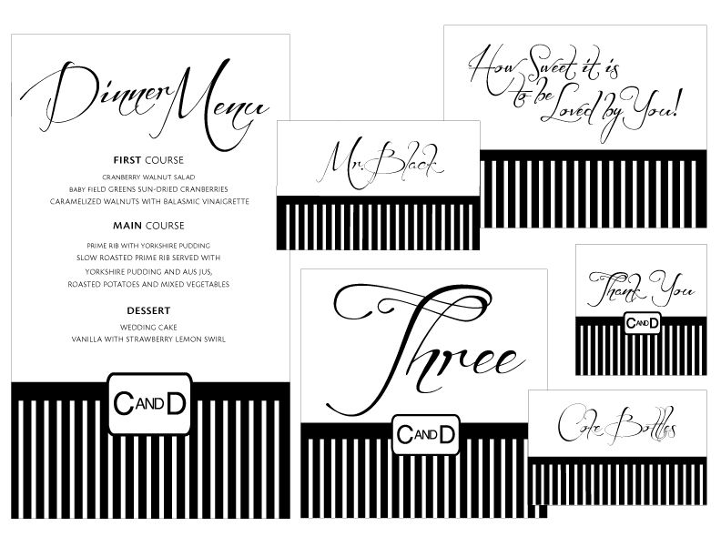 Madeline\'s Weddings & Events Custom Stationery - Black and White ...