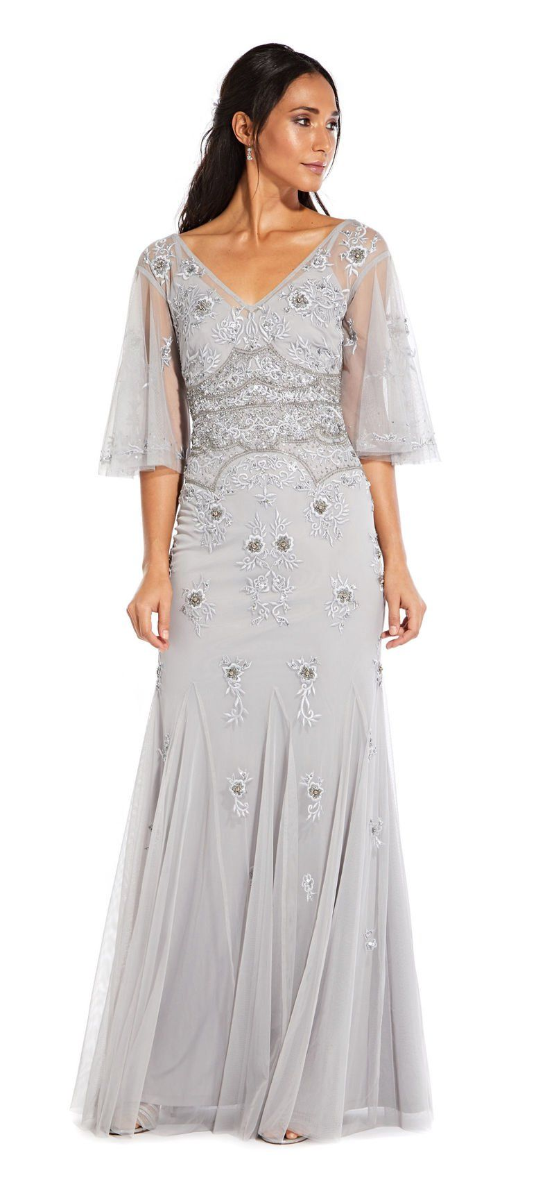 Floral Beaded Gown with Sheer Flutter Sleeves Formal