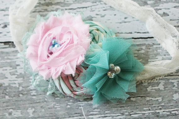 Reverie pink and aqua headband with lace by babybirdieboutique