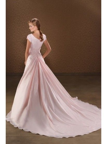 Pink full train wedding dress