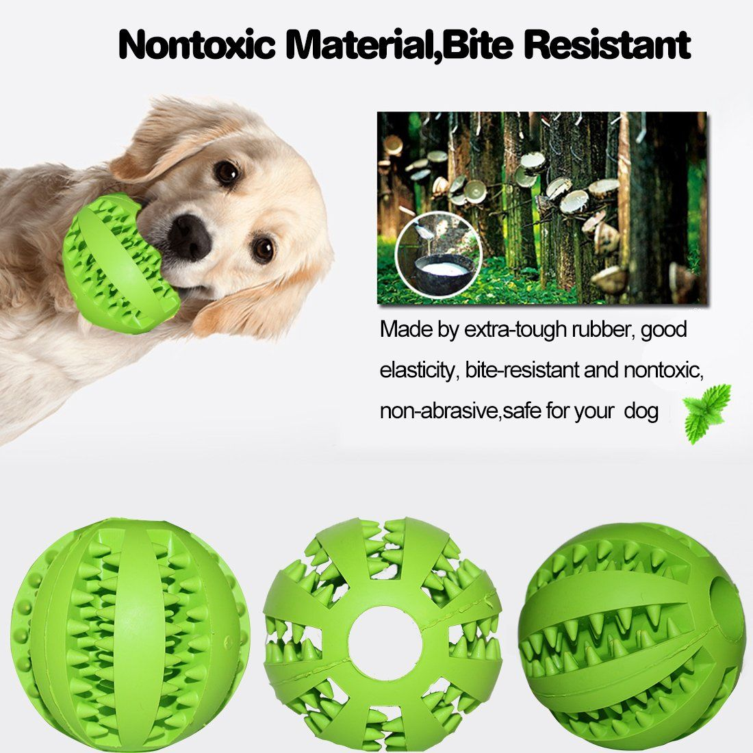 Idepet Dog Toy Ball Nontoxic Bite Resistant Toy Ball For Pet Dogs Puppy Cat Dog Pet Food Treat Feeder Chew Tooth Cleaning Ba Funny Dog Toys Interactive Dog Toys