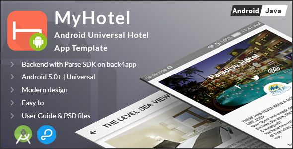 MyHotel   Android Universal Hotel App Template   Graphic Art