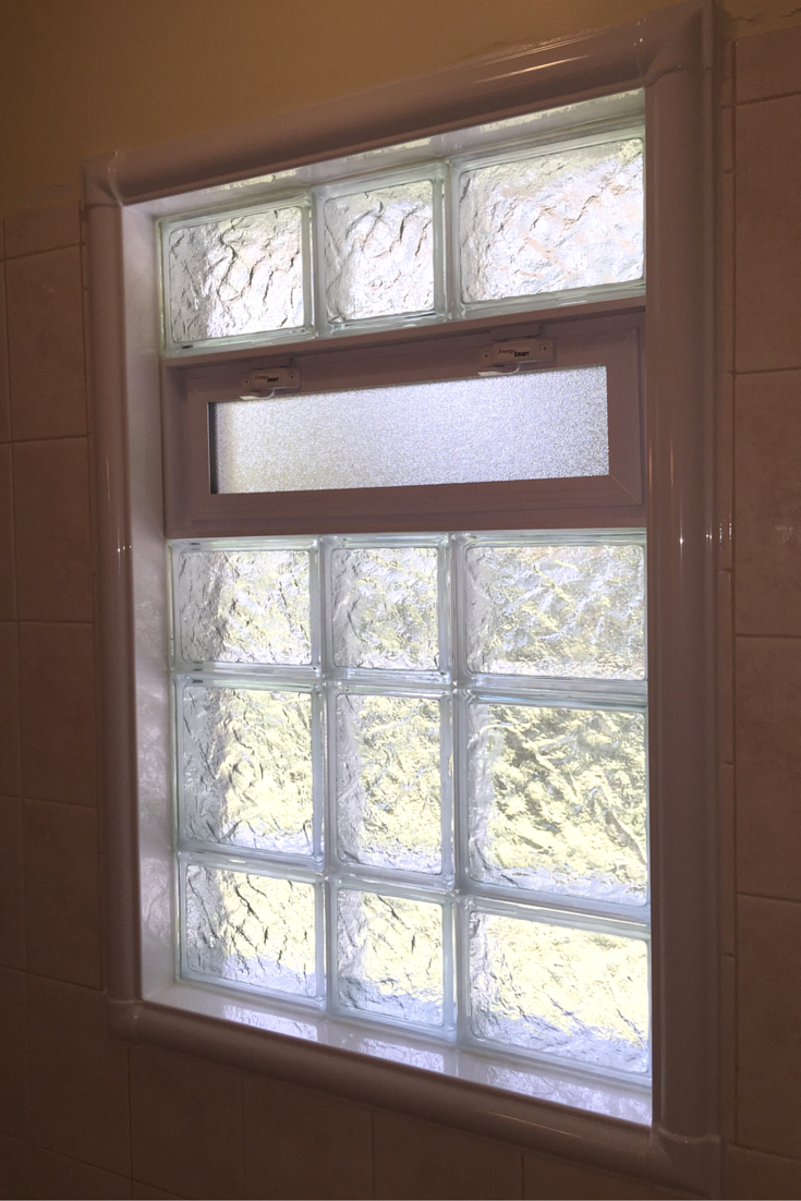 Wonder how to finish the inside of a glass block bathroom Plastic glass block windows