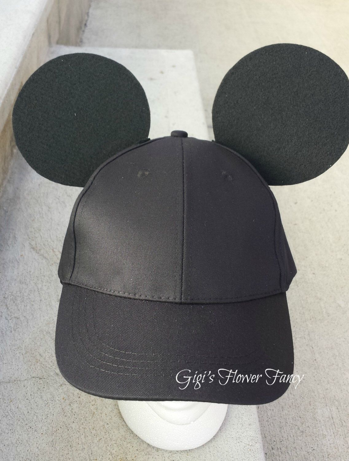 """Mickey Mouse Ears - Black Baseball Cap for guys/boys - Add name optional   Original """"Ear Perfection"""" Stay Up Ears! by GigisFlowerFancy on Etsy https://www.etsy.com/listing/247015794/mickey-mouse-ears-black-baseball-cap-for"""