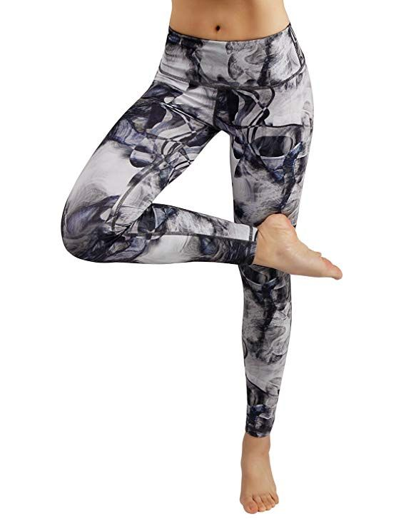 8a968f56c3a Amazon.com  ODODOS High Waist Out Pocket Printed Yoga Pants Tummy Control  Workout Running 4 Way Stretch Yoga Leggings  Clothing