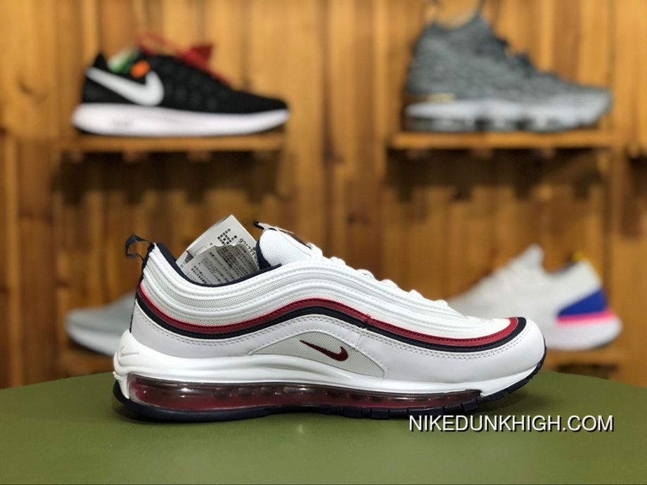 Nike Air Max 97 Red Crush 921733 102 Unisex Air Cushion Running Shoes WhiteBlackened Blue Red Crush Online