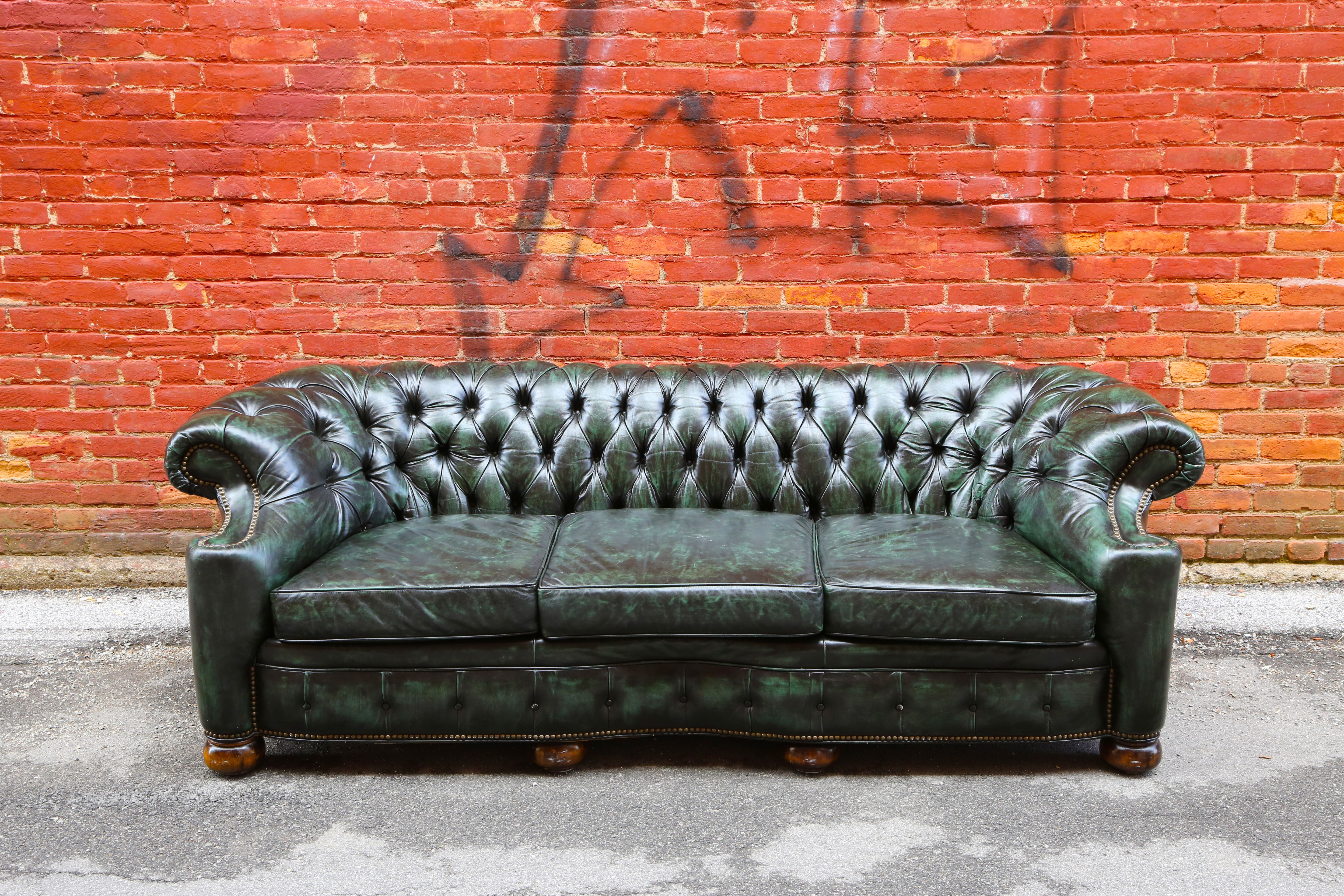 Beautiful Green Leather Sofa Now For Sale In Our Ebay Store In