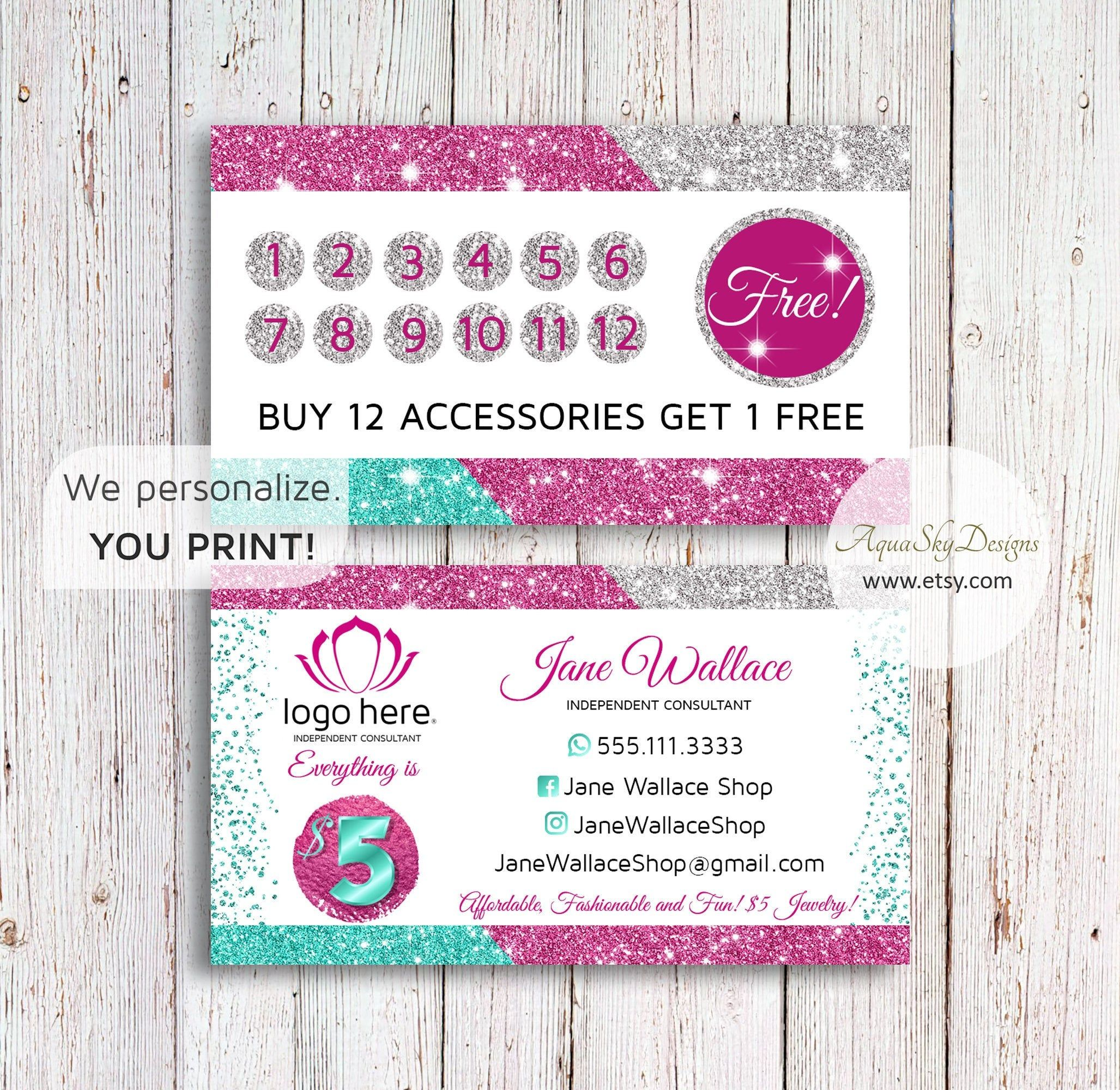 Jewelry Business Cards Punch Card Template Accessories Loyalty Card Punch Cards Digital Pi Jewelry Business Card Card Template Business Card Design Inspiration
