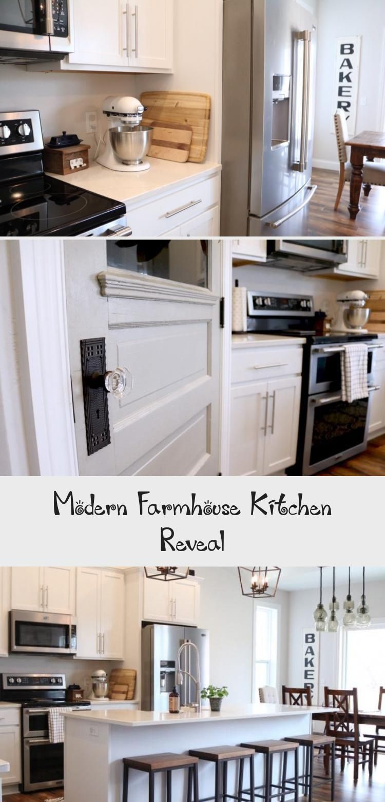 White Modern Farmhouse Kitchen Large Island farmhouse