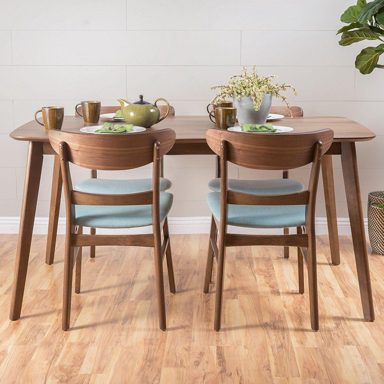 Amazon.com - Helen Mid Century Fabric & Wood Finish 5 Piece Dining Set (Walnut/Mint) - Table ...