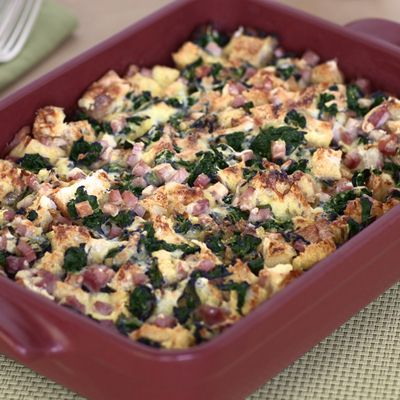 This Spinach, Cheese, and Ham Strata from The Brunch Box is an Italian-style layered casserole that is fabulous for Valentine's brunch and for winter suppers! Almost like a savory bread pudding, it's great for entertaining and can be easily prepared the day before and refrigerated.