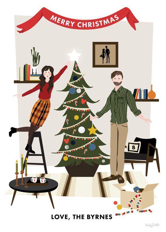 Custom Illustrated Family Christmas Card Christmas Card with