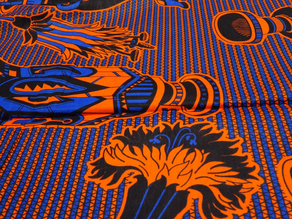 Blue Orange African print fabric by the Yards Ankara fabric by the ...